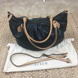 J. Crew Black Pebbled Leather Slouchy Satchel Bag